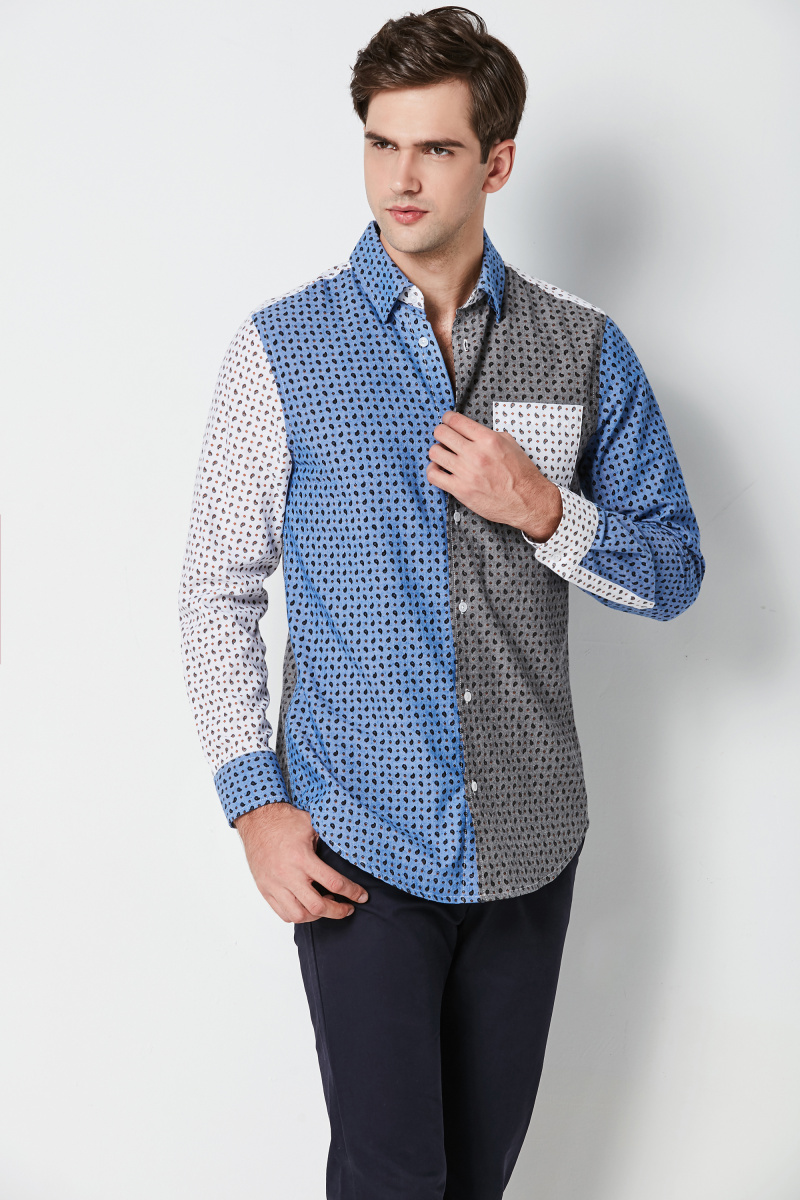 fashion contrast mens shirts