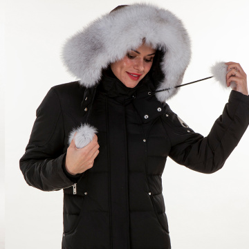 Long black down jacket with cap