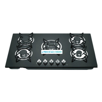 5 Burners Tempered Glass Top Built-in Gas Stove