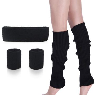 Women 80s Leg warmers Running Headband Wristbands