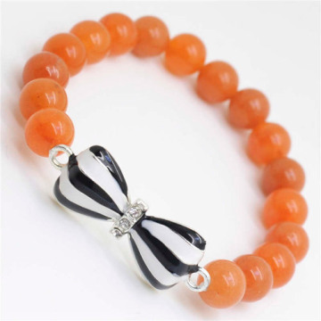 Red Aventurine Gemstone Bracelet with Diamante bow tie Alloy Piece