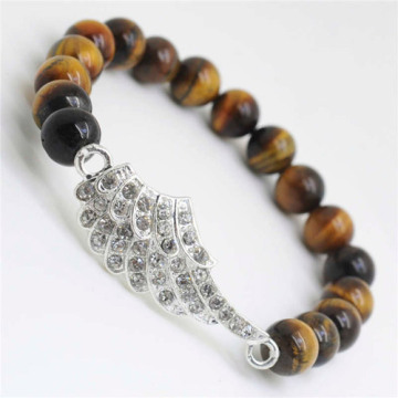 Yellow Tiger eye Gemstone Bracelet with Diamante alloy Wing Piece