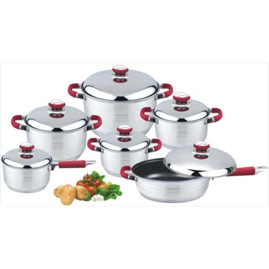 Rubber handle & knob 12pcs cookware set