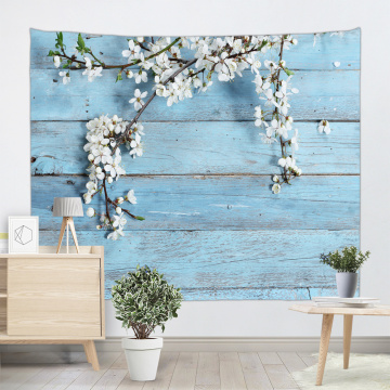 Vintage Planks with White Flower Tapestry Wall Hanging Wooden Board Sky Blue Wall Tapestry Nature Spring for Livingroom Bedroom