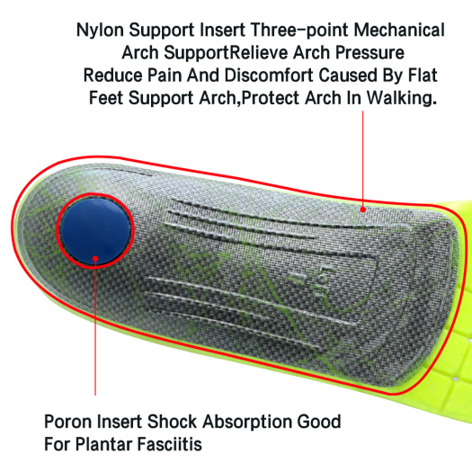 Shock-Absorbing Orthotic PU Foam Arch Support Insoles