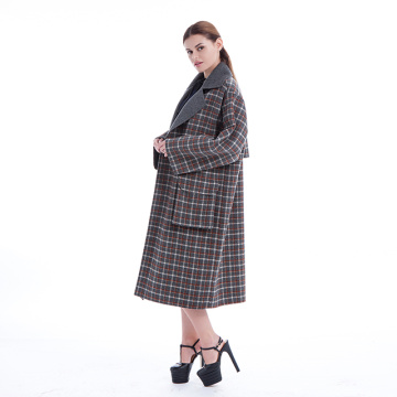 Cloak check Korean cashmere coat