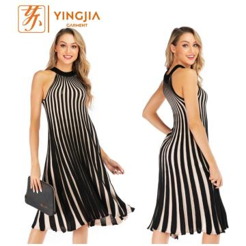 Knit Big Swing Black and White Stripe Dress