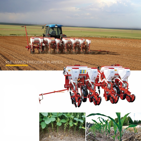 Tractor mounted pneumatic precision 4 row corn seeder