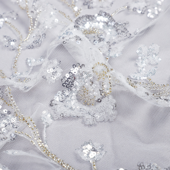 white sequin lace fabric