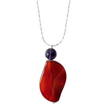 Natural Gemstone Agate Necklace with Silver Chain