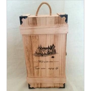 Customized Unfinished silk screen printing Pine double Bottle Wooden Wine Box