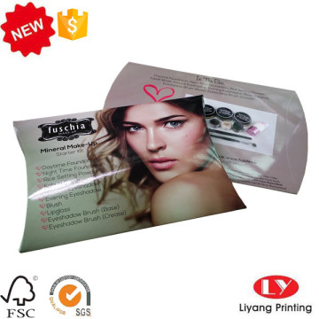 Cosmetic gift packaging pillow box with logo