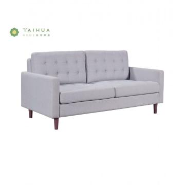 Grey Fabric Cushion Two Seater Sofa with Legs