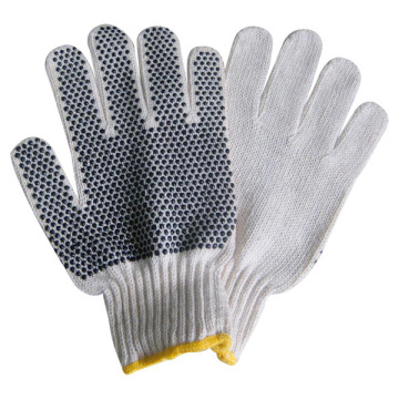 Knitted Cotton Working Gloves with Single PVC Dot