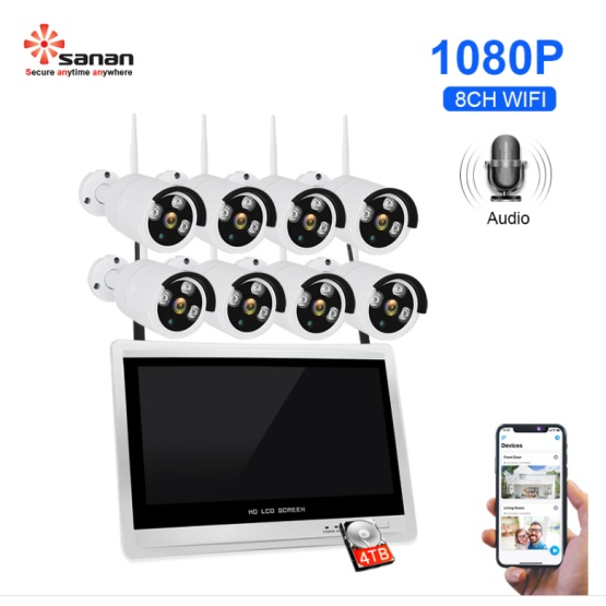 8CH 1080P Wireless Security Camera 12.5