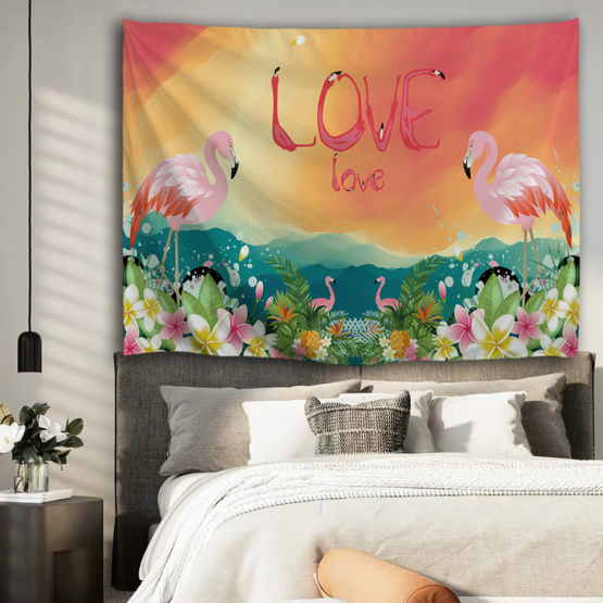 Flamingo Tapestry Flower Love Wall Hanging Tropical Garden Tapestry for Livingroom Bedroom Home Dorm Decor