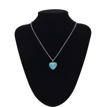 Turquoise fish's scales hexagonal prism Stone Necklace