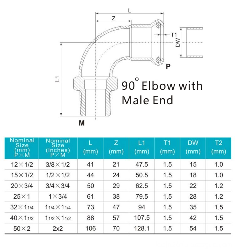 90elbow with male end