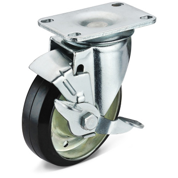 The Black Rubber Flat Bottom Side Brake Casters