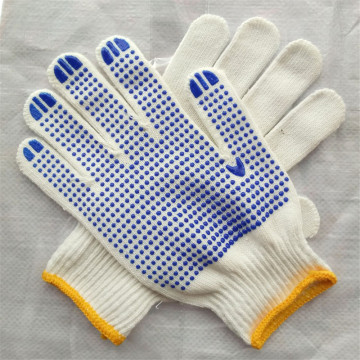 Black PVC Dotted Drill Cotton Gloves