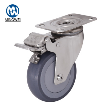 Stainless Steel 4 Inch TPR Caster With Brake