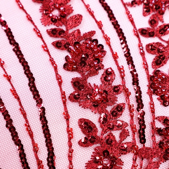 Wine Red Sequin Mesh Lace for Bridal