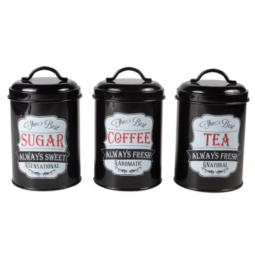 Black kitchen canister set 3
