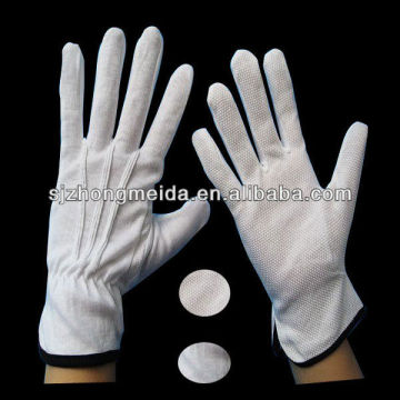 White Cotton Parade Gloves With Dots On Palm