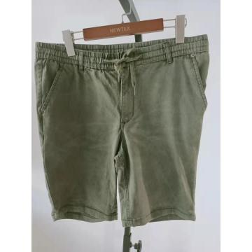 cotton twill elastic waist with tie mens shorts