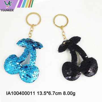 Sequined cherry key chain bag pendant