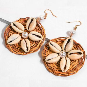 Earrings For Women Woven Handmade Straw Oval Or Circle Shell Drop Dangle Earrings Bohemian Lightweight Earrings Geometric Statem