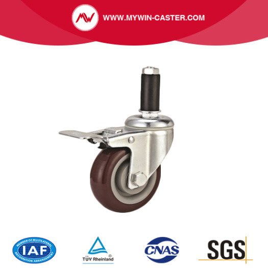Medium Duty Threaded Stem PVC Caster with Brake