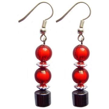 Hematite Earring With 925 Crimson Silver Hook
