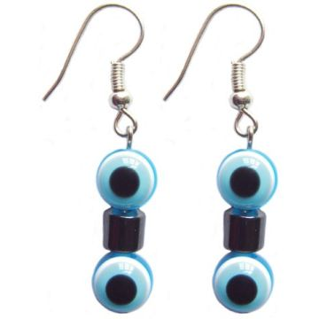Hematite Earring With 925 Skyblue Silver Hook