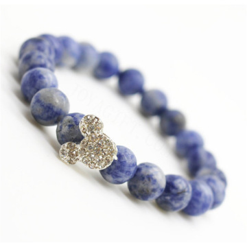 Sodalite Gemstone Bracelet with Diamante alloy Mickey Piece