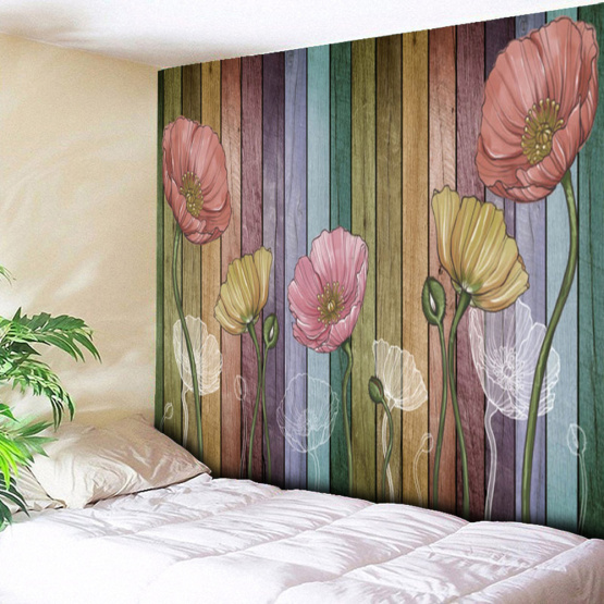 Retro Wood Plank Flower Wall Tapestry Colorful Tapestry Wall Hanging for Livingroom Bedroom Dorm Home Decor
