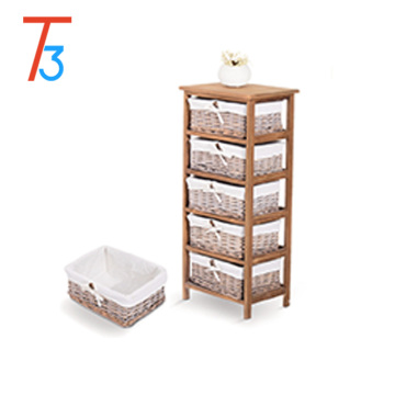 Wholesaler Wooden storage cabinet with multi-layer drawers and handles