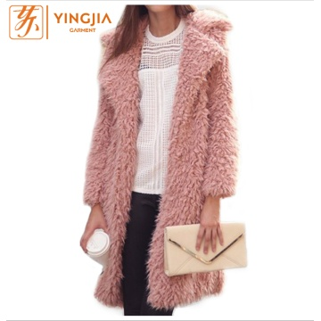 Winter Women Long Plush Coat Lapel Furry Coat