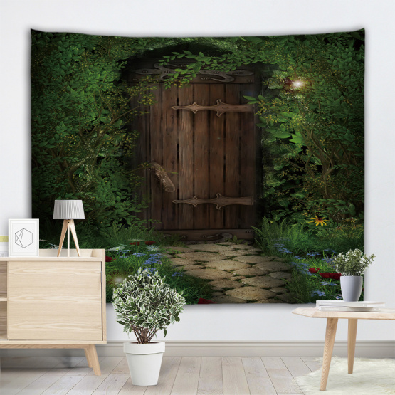 Green Vine Tapestry Wooden Door Stone Road Wall Hanging Nature Style 3D Print Tapestry for Livingroom Bedroom Home Dorm Decor