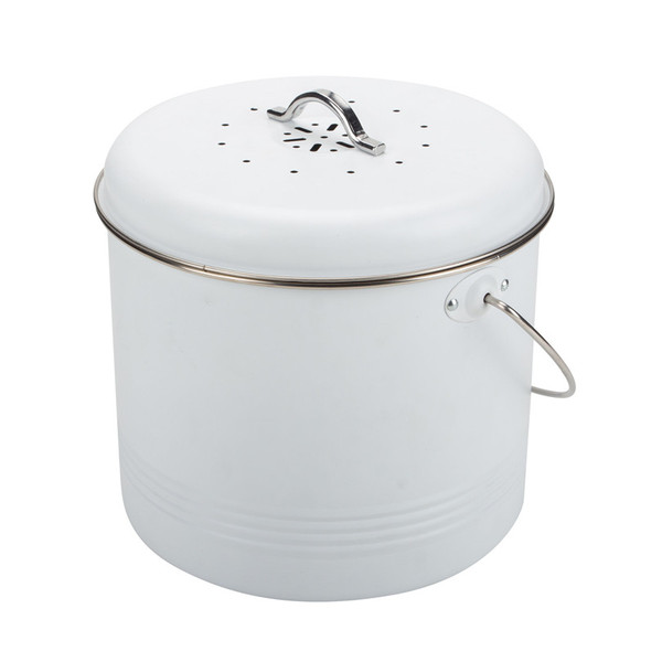 Cream powder-coated compost bin caddy