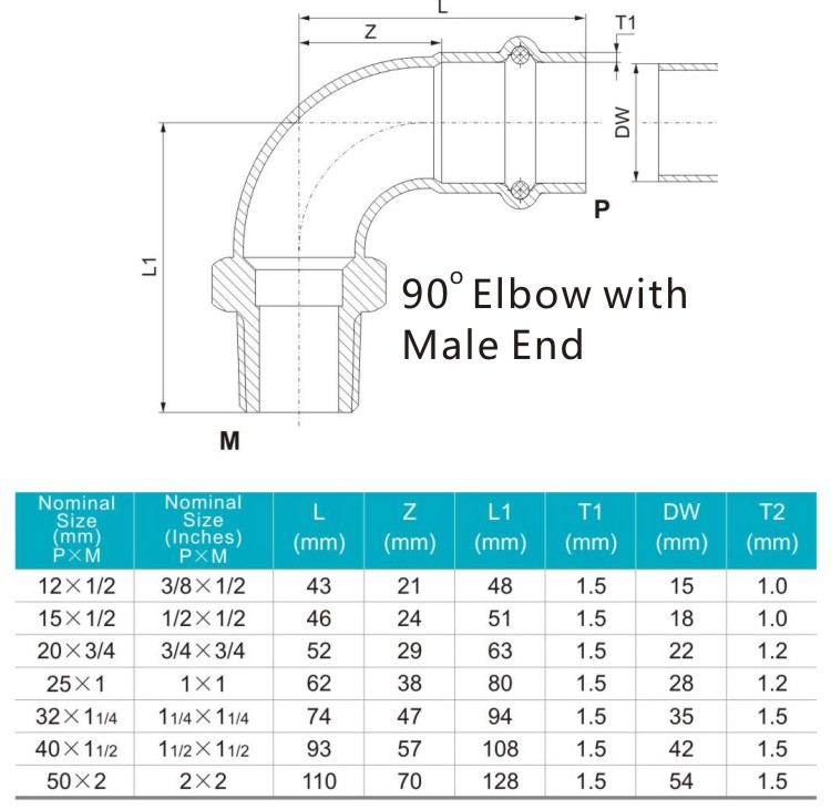 90 elbow with male end