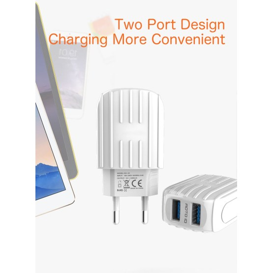 Dual USB Travel Charger Adapter Charging Plug