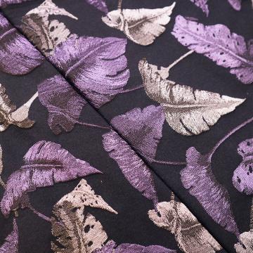 Purple Birds Feather Jacquard Elegant Fabric