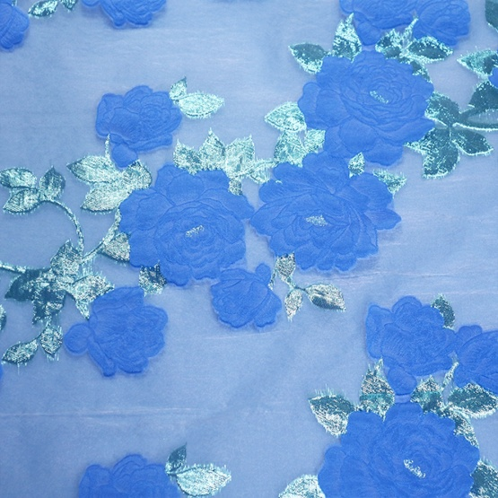 Green Blue Floral Jacquard Brocade for Dress