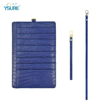 Slim Embossed Neck Strap Leather Credit Card Holder