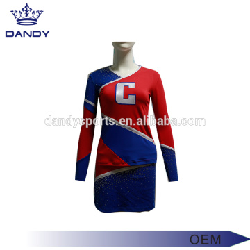 custom logo blue cheerleader costume