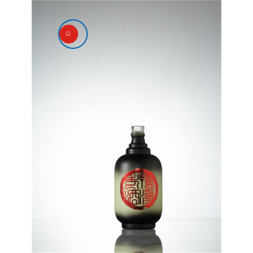 Round Glass Liquor Bottle with Gradual Color