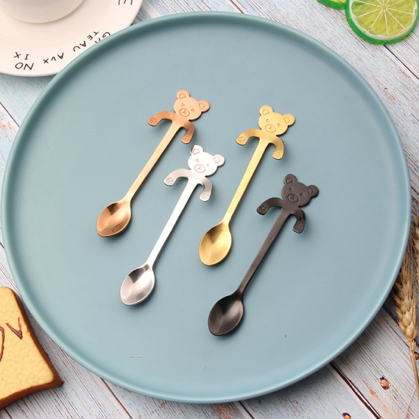 Metal cute coffee spoon bear shaped stirring spoon