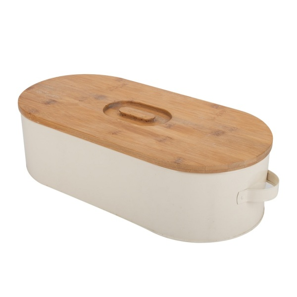 Modern bread box with bamboo lid factory BSCI