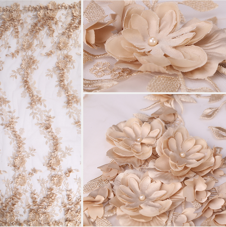 3d embroidery applique lace fabric